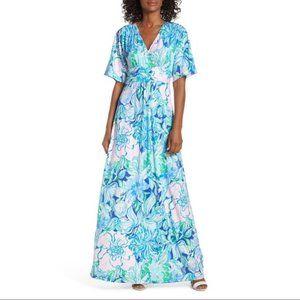 Lilly Pulitzer Parigi Maxi Dress Floral Blue